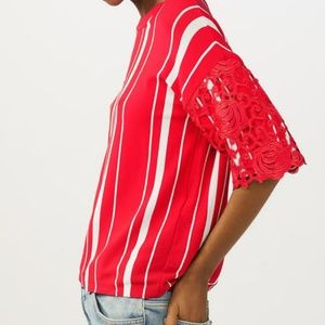 Maje Molina Red Lace Trim Striped Blouse Top